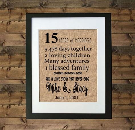 15 year anniversary gift framed burlap print personalized