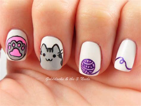 imagenes de uñas decoradas kawaii goldilocks the three nails pusheen cat nail art