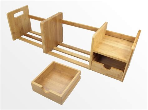 Desk Top Book Shelf by Expandable Bookshelf With Drawers Bamboo Desktop