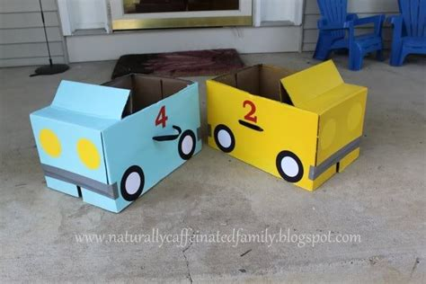 How To Make A Race Car Out Of Paper - cardboard box cars boy birthday ideas