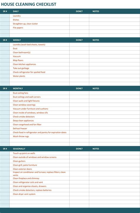 Professional Cleaning Checklist Templates house cleaning checklist template to unify cleaning
