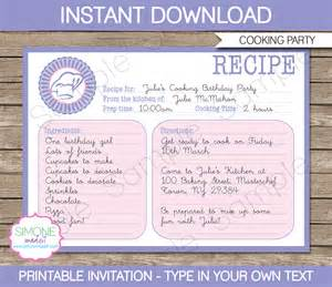cooking recipe card invitations template birthday
