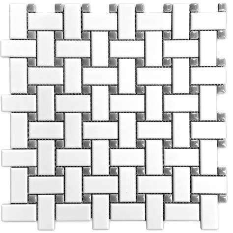 Basketweave Porcelain Mosaic Gloss Gray Dot Floor Wall Tile