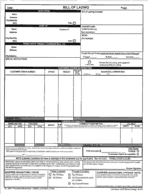 4 standard bill of ladingreport template document report