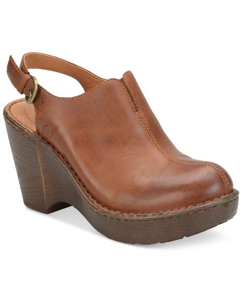 brown clogs for born flowers slingback clogs in brown lyst