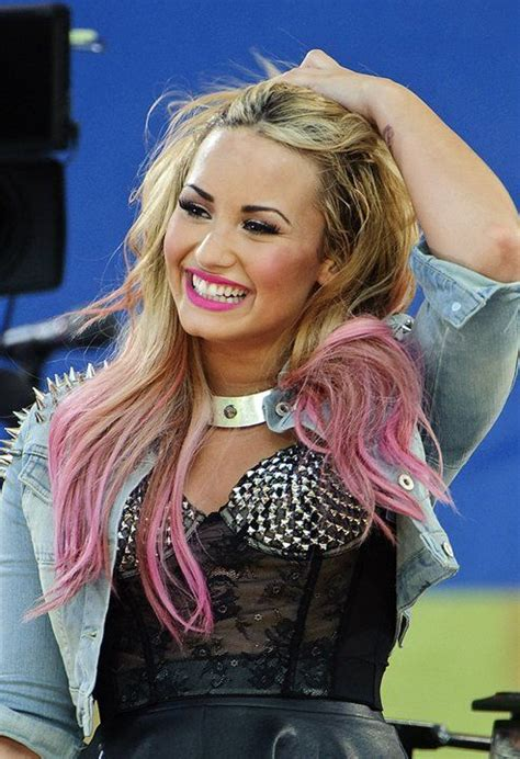demi lovato inspired pink purple dip dye ombre hair celebs with easter egg colored hair