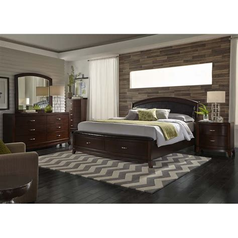 Liberty King Bedroom Set by Liberty Furniture Avalon 5 King Faux Leather Storage