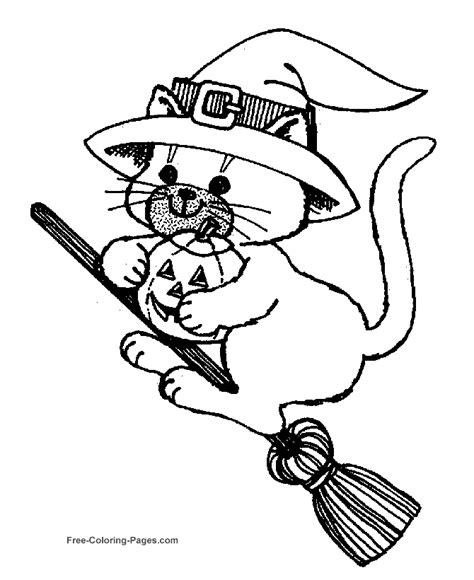 halloween coloring pages pinterest halloween coloring pages cat on broom coloring pages