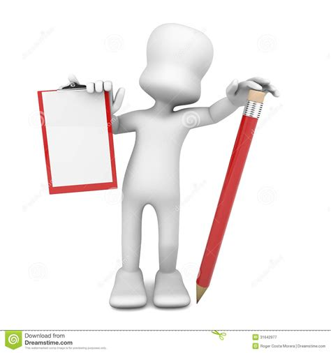 3d person with a clipboard royalty free