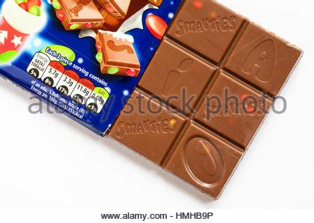 Nestle Smarties Chocolate Block guideline daily amount information with traffic light