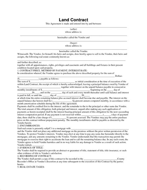 contract for sale of land template template land contract template