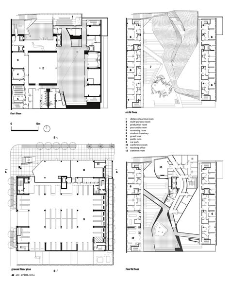 college floor plans cut and print emerson college los angeles by morphosis