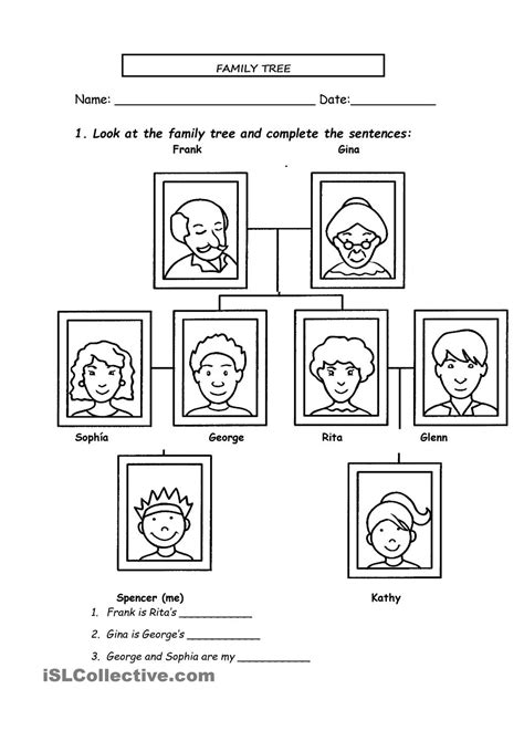 13 best images of spanish family tree worksheet family