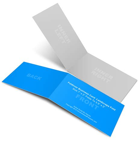 business card template 10 per sheet horizontal landscape foldover business card mock ups 7x2in cover