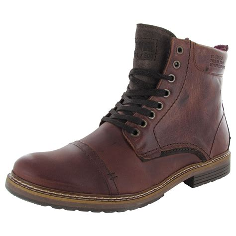 steve madden mens sargge leather cap toe combat boot shoes