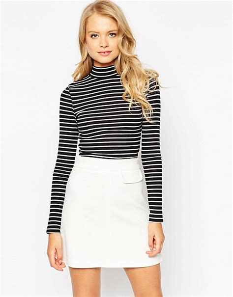 Turtleneck Striped Top asos asos crop top in turtleneck with stripe and sleeve
