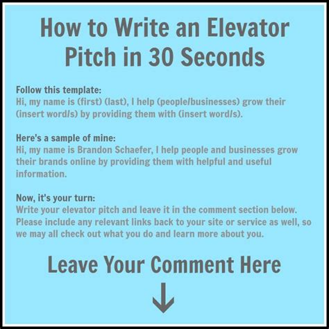 elevator pitch template pin by kawania wooten cmp on business working the