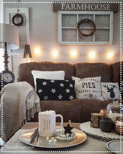 rustic livingroom rustic living room cozy stringlights our home