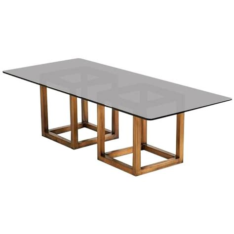 smoked glass table l spectacular milo baughman bronze and smoked glass dining