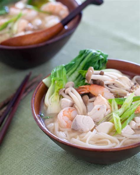 seafood miso noodle soup steamy kitchen recipes