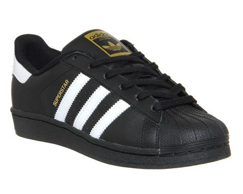 Adidas Superstar Shoes Black Adidas Adidas Superstar Jr Wmns Black White Foundation Trainers