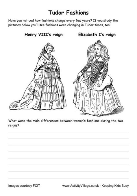 design clothes worksheet tudor fashions worksheet female costume comparison