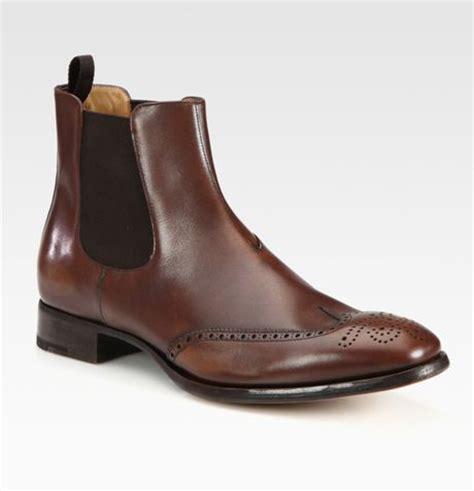 prada chelsea boots mens prada wingtip chelsea boots in brown for lyst