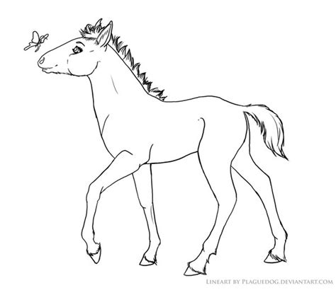 coloring pages of horses and foals free to color foal lineart by plaguedog on deviantart