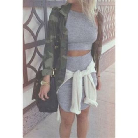 dress grey matching skirt and top crop top and pencil