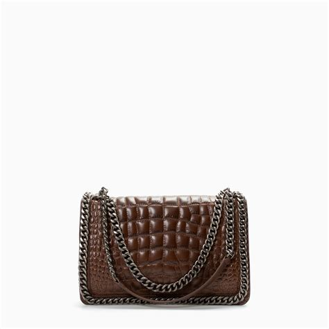 zara croc city bag with chain in brown brown lyst
