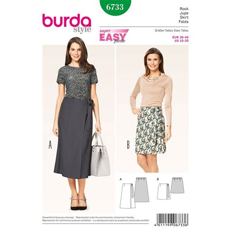 skirt pattern burda misses wrap skirt burda sewing pattern no 6733 size 10