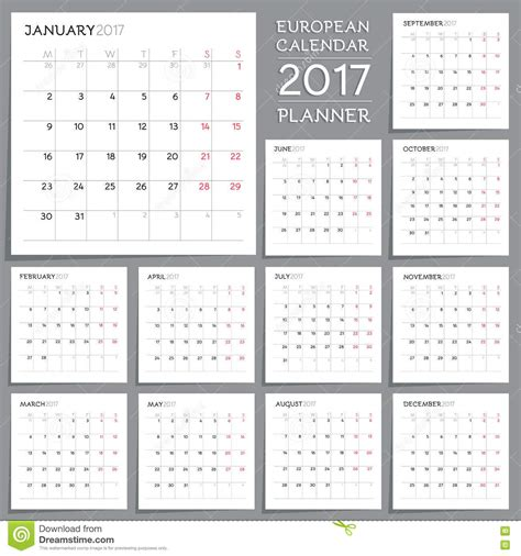 time design planner calendar planner design week starts from monday stock