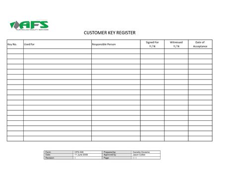 best photos of key sign out template key control log