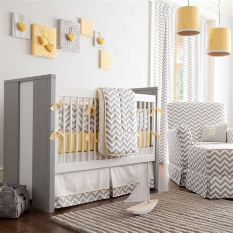 Chevron Print Crib Bedding Gray And Yellow Chevron Crib Bedding Transitional Atlanta By Carousel Designs