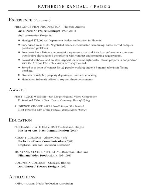 Production Manager Resume Exles by Production Resume Exles Production Assistant Resume