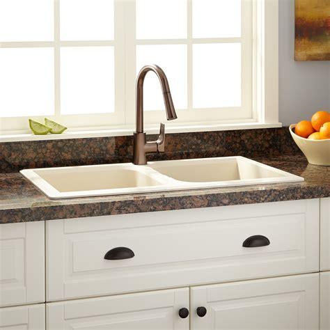 cream kitchen sink 34 quot evart double bowl drop in granite composite sink