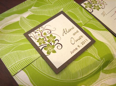 Peridot Wedding Invitation Paper by Green Brown Tropical Wedding Invitation With Orchids