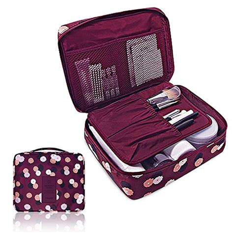 New Travel Toiletries Bag Tas Traveling pockettrip clear cosmetic makeup bag toiletry travel kit organizer new 2015 flower in wine