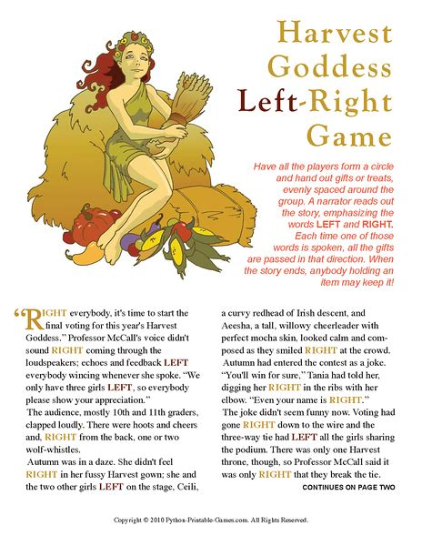 harvest goddess l r printable games
