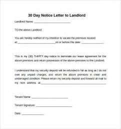 30 Day Notice Letter 30 days notice letter to landlord 7 free documents in word