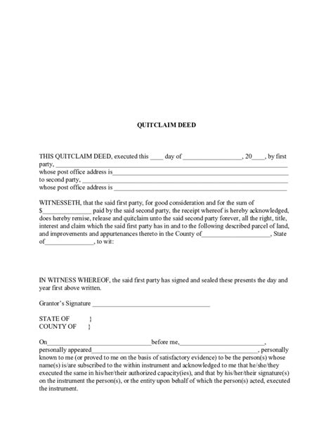 quitclaim deed template quit claim deed form 86 free templates in pdf word