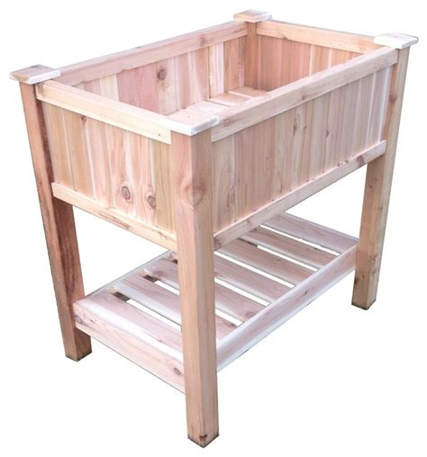 Elevated Container Garden Planters by Cedar Raised Container Garden Planter With Bottom Shelf Small Traditional Outdoor Pots And