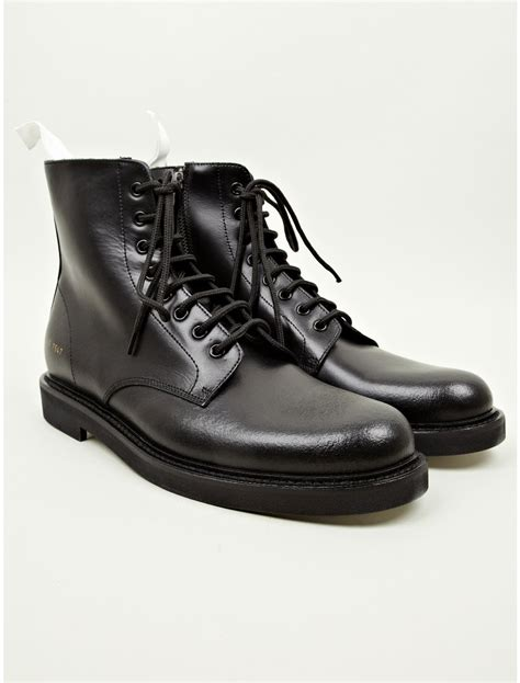 black leather combat boots for common projects mens black leather combat boots in black