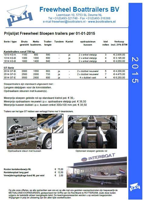freewheel boottrailer prijslijsten freewheel boottrailers