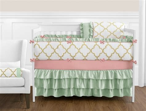 mint and coral baby bedding gold mint coral and white ava baby bedding 9pc girls crib set only 189 99