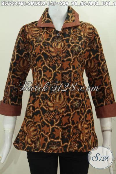 Finejo Blus Katun Kerah Polo pakaian batik wanita model terbaru motif klasik blus plisir kerah polos elagan proses kombinasi
