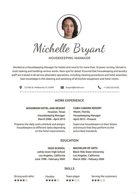 Housekeeping Resume Template by Housekeeping Resume Template 4 Free Word Pdf Documents
