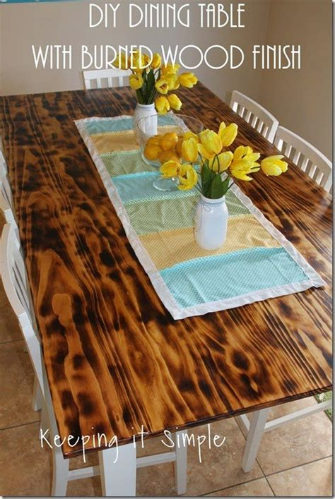 how to finish a wood table diy dining table with burned wood finish diy hometalk