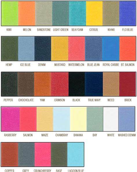 Comfort Colors by Comfort Color T Shirts Color Chart