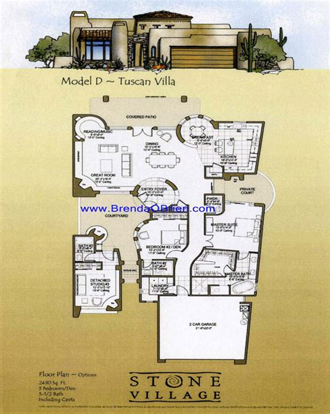 Tuscany Floor Plans by Stone Village Tucson Arizona Tuscan Floor Plan D